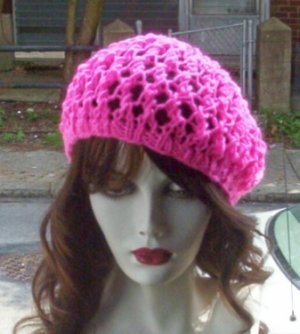 Hand Knit Summer Slouchy Fishnet Ladies Beret - Hot Pink