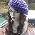 Hand Knit Summer Slouchy Fishnet Ladies Beret - Purple