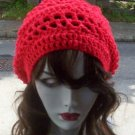 Hand Crochet Summer Slouchy Hat - Red - Ready 2 Ship