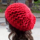 Hand Knit Summer Slouchy Fishnet Ladies Beret - Red