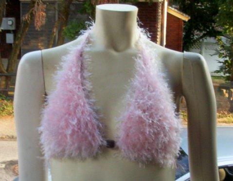 Hand Knit Bikini Top Halter Sexy Med/Lrg Pink Fur Yarn