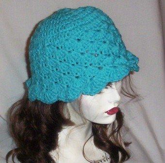Hand Crochet - Ladies Turquoise Mermaid Beach Hat