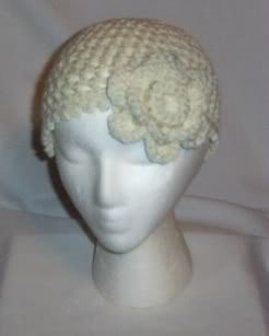 Hand Crochet Ivory Mesh Hat with Ivory Flower