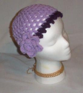 Hand Crochet Ladies Light Purple Mesh and flower Flower Hat