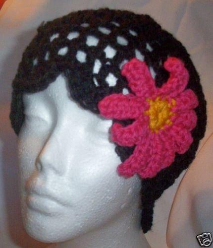 Hand Crochet Black Mesh Beanie with Pink Daisy