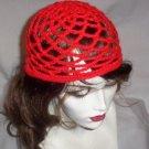 Hand Crochet Summer Mesh Juliet Cap - Red