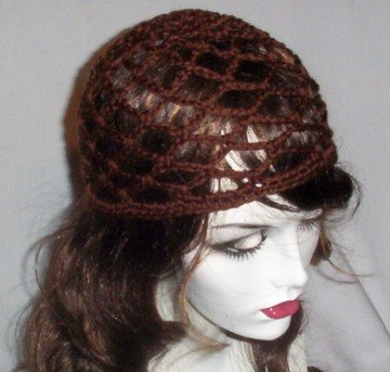 Hand Crochet Summer Mesh Juliet Cap - Brown