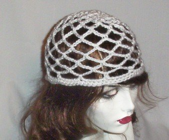 Hand Crochet Summer Mesh Juliet Cap - Wedding White