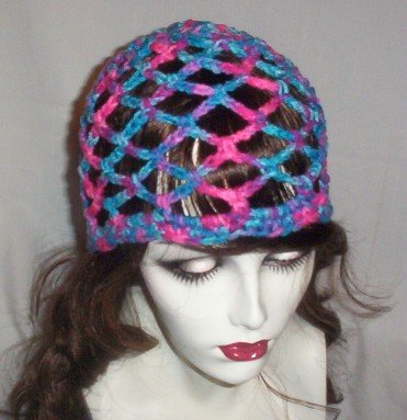 Hand Crochet Summer Mesh Juliet Cap - Shades of pink purple and blues