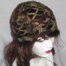 Hand Crochet Summer Mesh Juliet Cap - Camoflauge