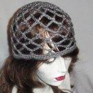 Hand Crochet Summer Mesh Juliet Cap - Grey