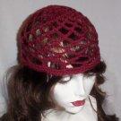 Hand Crochet Summer Mesh Juliet Cap - Burgandy