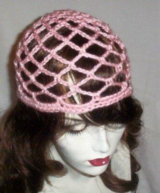 Hand Crochet Summer Mesh Juliet Cap - Pink