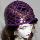 Hand Crochet Summer Mesh Juliet Cap - Purple
