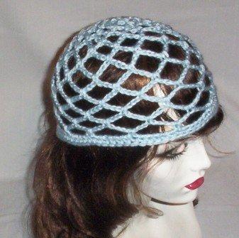 Hand Crochet Summer Mesh Juliet Cap - Light Blue