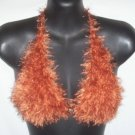 Hand Knit Bikini Top Halter Sexy Med/Lrg Copper Fur Yarn