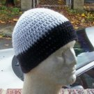 Hand Crochet Men's Skull Cap Beanie Hat Zac Brown Band - 8 inch - Gray Black