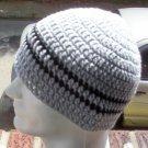 Hand Crochet - Men's Skull Cap Beanie Hat - Gray Striped Zac Brown
