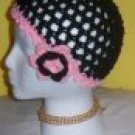 Hand Crochet Ladies Black and Pink Mesh Skull Cap Beanie with flower