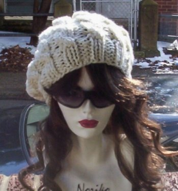 Hand Knit Oversized Slouchy Cabled Ivory Beret Rasta Sn