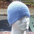 Hand Crochet Mens Cotton Skull Beanie in Light Blue