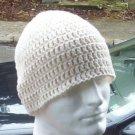 Hand Crochet Mens Cotton Skull Beanie in Ivory