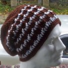 Hand Crochet Men's Slouchy Beanie - Brown and Light Gray - Made 2 Order