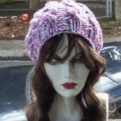 Hand Knit Oversized Slouchy Cabled Wild Flowers Beret Rasta Snood