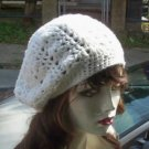 Hand Crochet Summer Slouchy Hat - White - Ready 2 Ship