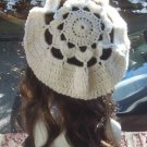 Hand Crochet Oversized Beret Rasta Snood Tam - Cream