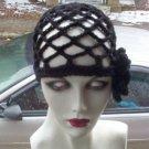 Hand Crochet Black Juliet Cap with Black Flower
