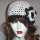 Hand Crochet White and Black Flowered Cloche Ladies Beanie - Ready to Ship
