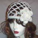 Hand Crochet White Juliet Cap with White Flower