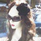 Hand Crochet Black Flower Hair Barrette