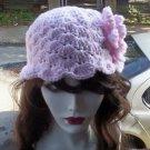 Hand Crochet - Ladies Flowered Pink Mermaid Beach Hat
