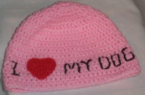 Hand Crochet - Pink I Heart my Dog Ladies Beanie Hat - Ready 2 Ship