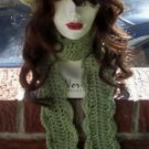 Hand Crochet Ladies Green Chemo Beret and scalloped Edge Scarf Set - Ready to ship