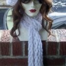 Hand Knit White Fishnet Hat and Scarf Set - Ready to ship