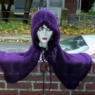 Hand Knit Purple Hooded Mini Caplet Cloak Cape - Ready to Ship
