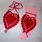 Hand Crochet Red Pineapple Barefoot Sandals