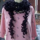 Hand Crochet Scarf Necklace PomPom Necklette - Black