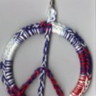 Hand Crochet Red White Blue Peace Sign Earrings Cotton - Ready 2 Ship
