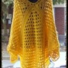 Hand Crochet Yellow Athena Poncho - One Size Made 2 Order Boho Chic