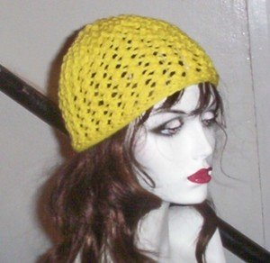 Hand Knit Ladies Lacy Beanie in Sunny Yellow