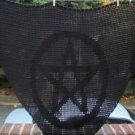 Hand Crochet Witchy Triangle Pentacle Shawl - Black