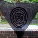 Hand Crochet Witchy Triangle Hecate's Wheel Shawl - Black