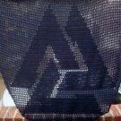 Hand Crochet Witchy Triangle Valknut Shawl - Navy