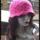 Hand Crochet - Ladies Hot Pink Mermaid Beach Hat Vacation Cruise