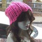 Hand Crochet Ladies Skull Cap Hot Pink Slouchy Flower Petal Beanie Chemo Summer