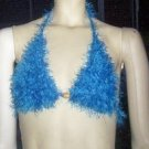 Hand Knit Bikini Top Halter Med/Lrg Blue Fur Yarn Wedding Beach Vacation